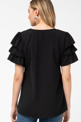 Ruffle Black Top