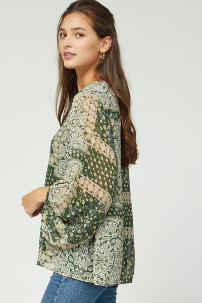 Hunter green puff sleeve top