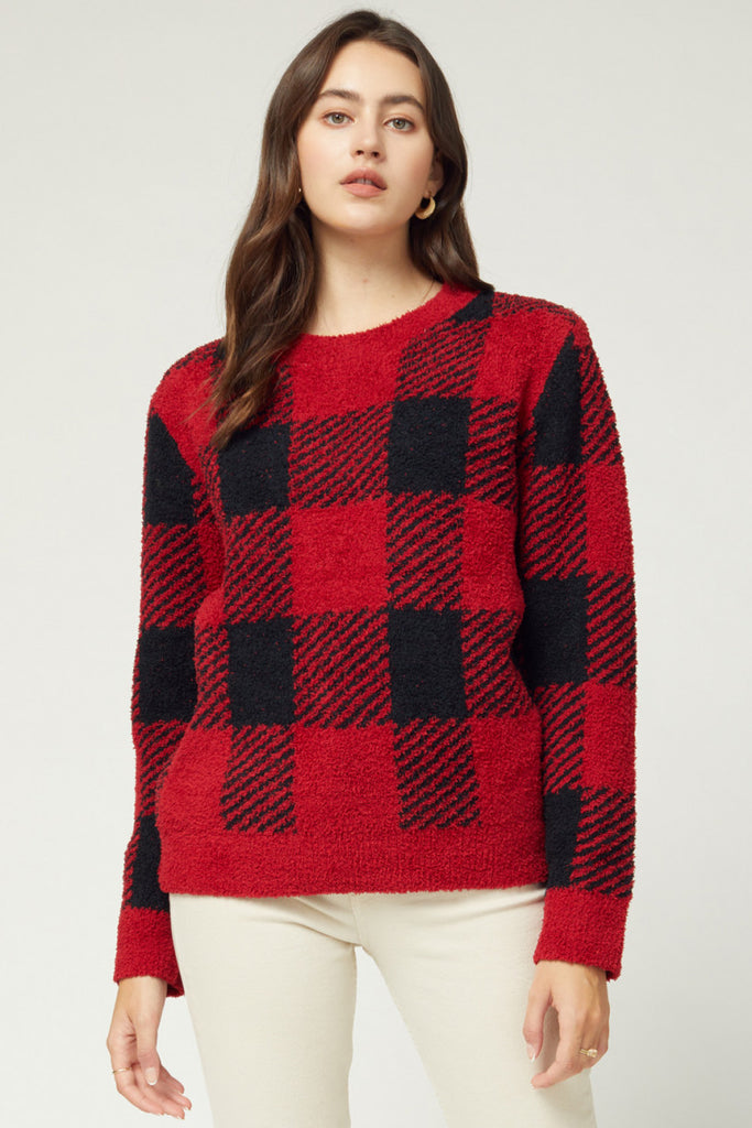 Red and Black Gingham Sweater