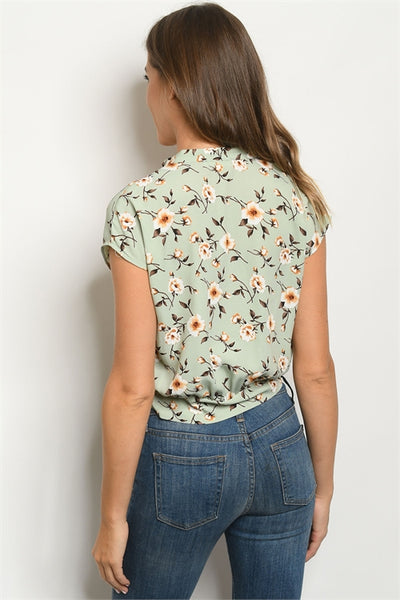 casual sage knotted floral top