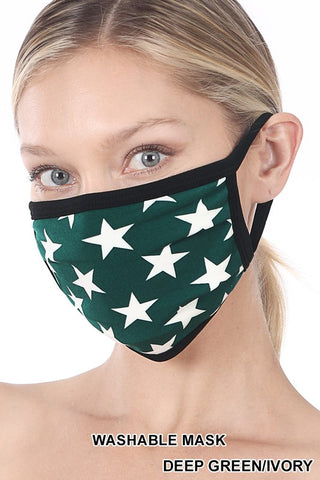 Green with Star Print Reusable Face Mask