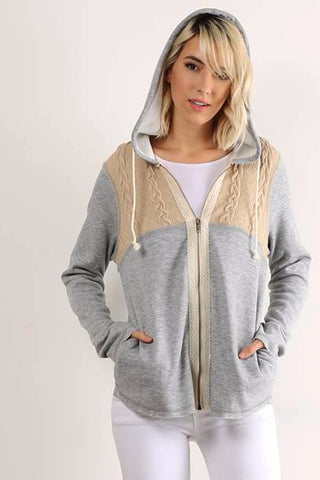 Grey Yoke Fleece Hoodie Zip-up Jacket