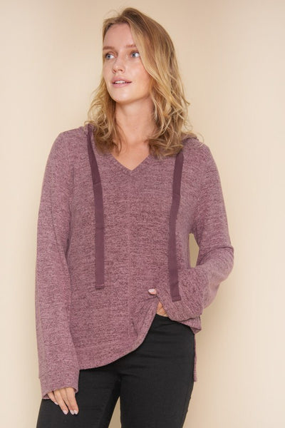 Hacci hooded pullover sweater