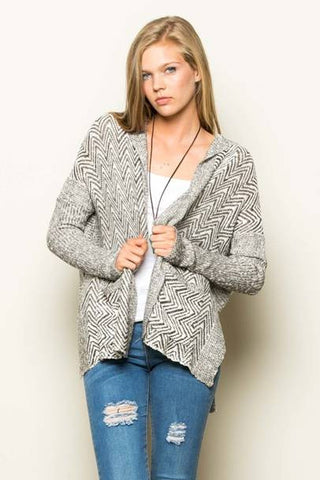 Cool in Chevron Pocketed Cardigan Sweater