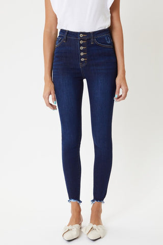 button fringe jean