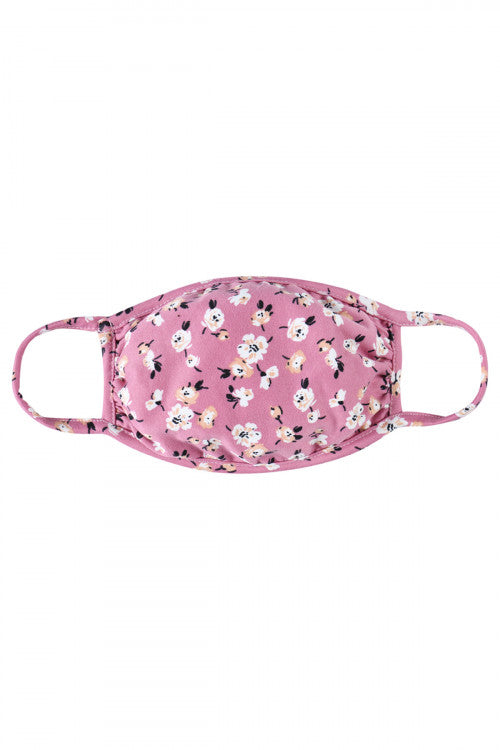Mauve Floral Print Reusable Kid's Face Mask