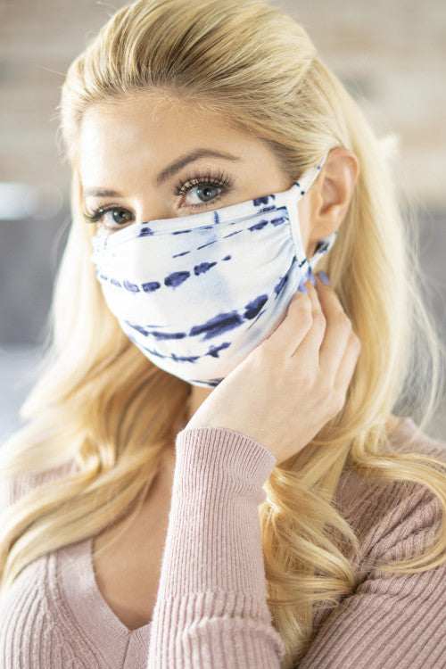 Navy Tie Dye Reusable Face Mask