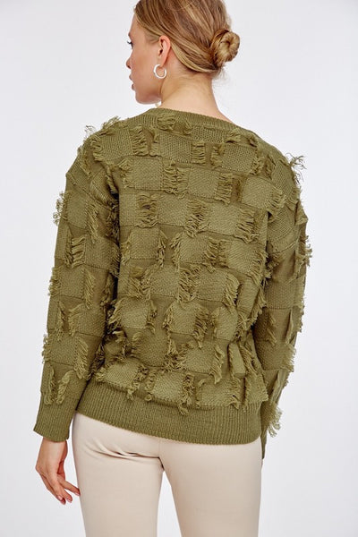 olive distessed sweater