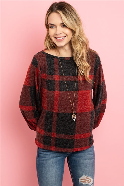 red plaid holiday top