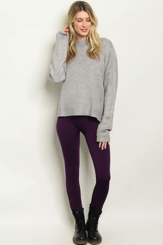 Purple Fleece Lined Leggings