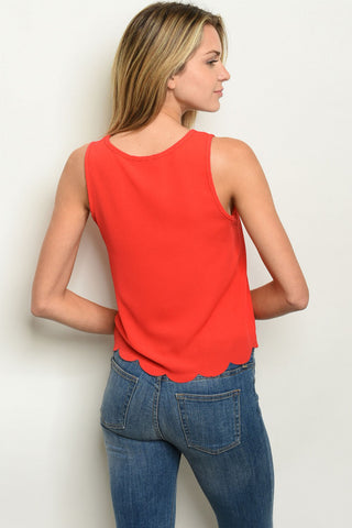 Scalloped Hemline Red Top