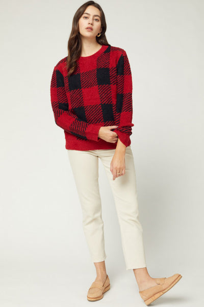 Great Gingham Red Plaid Sweater