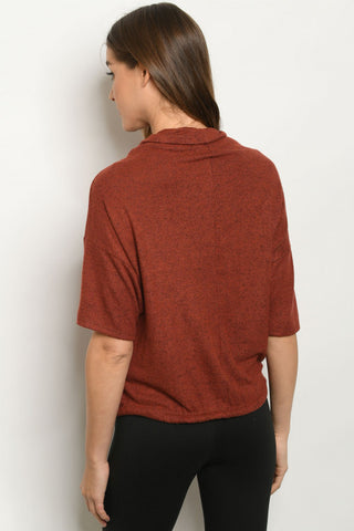 Rust Turtleneck sweater back view