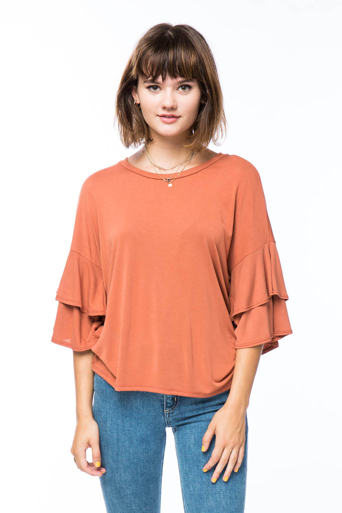 Rusty Ruffles Top with 3/4 Bell sleeves