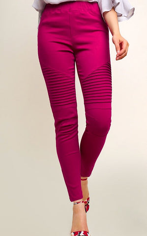 Washed Moto Jeggings - Magenta