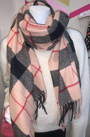Red Taupe & Black Plaid Scarf