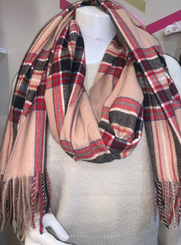 Red and Taupe Plaid Scarf