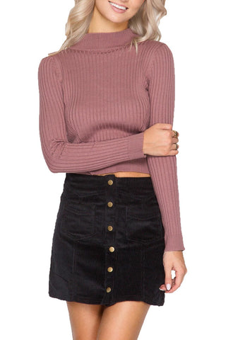 Button-up Black Corduroy Skirt