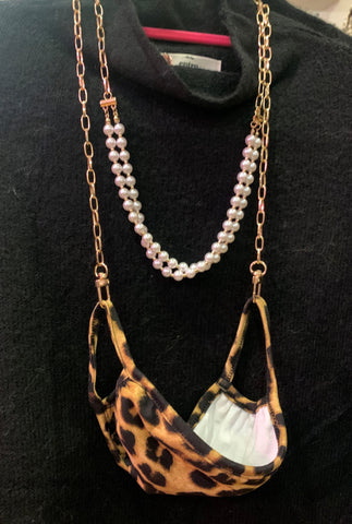 Gold and Pearl Bead Mask Chain