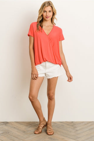 Coral Faux-Wrap Top