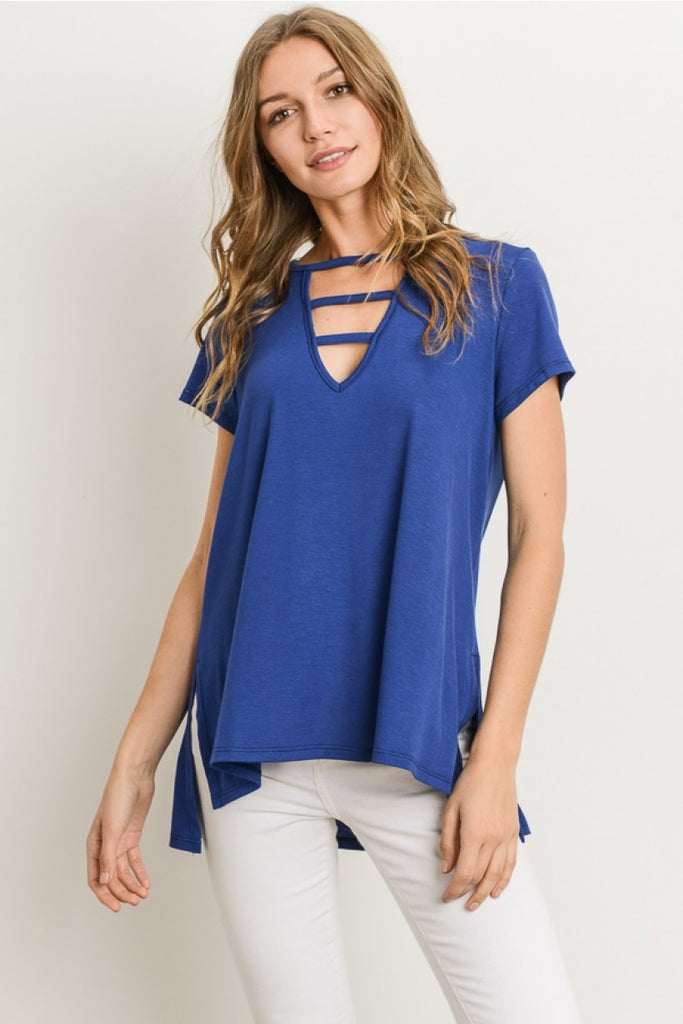 Ladder Neck Royal Blue Top