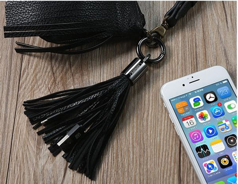 iPhone Pink Tassel Keychain Charger