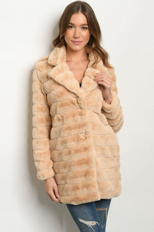taupe fur jacket
