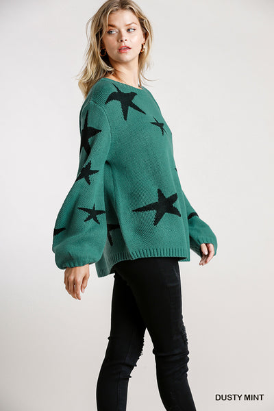 teal puff sleeve star sweater