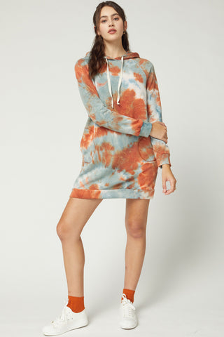 Rust Hooded Tie Dye Dress