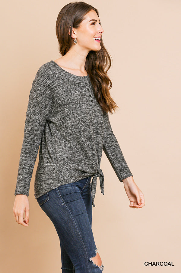 charcoal knotted long sleeve top