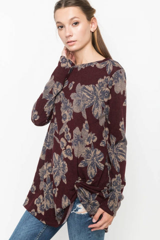 Burgundy Floral Knit Top