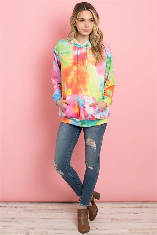 Multi Color Tie Dyed Hooded Top