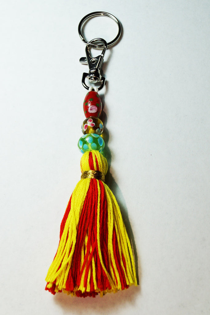 Yellow and Red Tassel Keychain/Zipper Pull/Purse Pull-Tassel