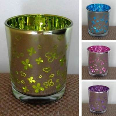 Candle Holder - Mercury Glass - Flower Print