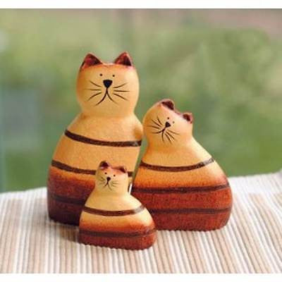Handmade Wooden Cat Ornaments - Set of 3