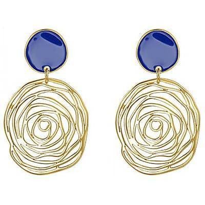 Gold Statement Earrings - 'Blue Rose'