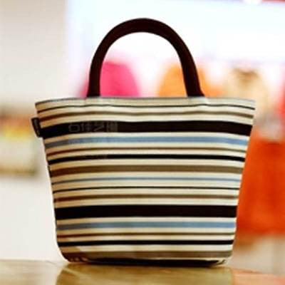 Canvas Tote Bag - Oxford Stripe - Blue