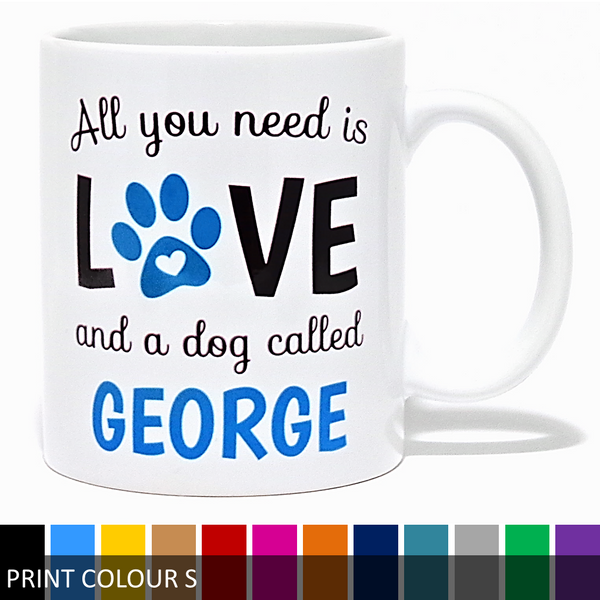 Personalised All You Need Is Love & A Dog Called Mug