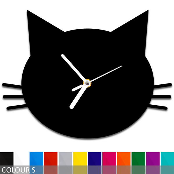 Cat Face Silhouette Wall Clock