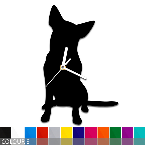 Cattle Dog Sitting Silhouette Wall Clock