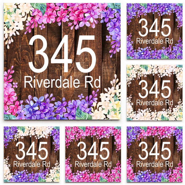 Custom House Address/Street Address Sign Plaque - Ceramic Tile Print: Wood & Lilacs