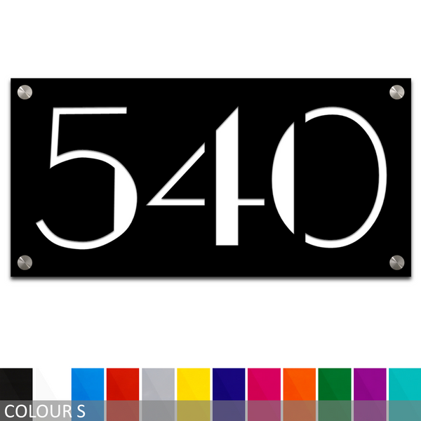 Custom Modern House Number/Street Number Acrylic Sign Plaque - 150mm x 300mm