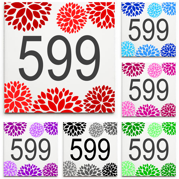 Custom House Number Sign/Plaque - Ceramic Tile Print: Floral