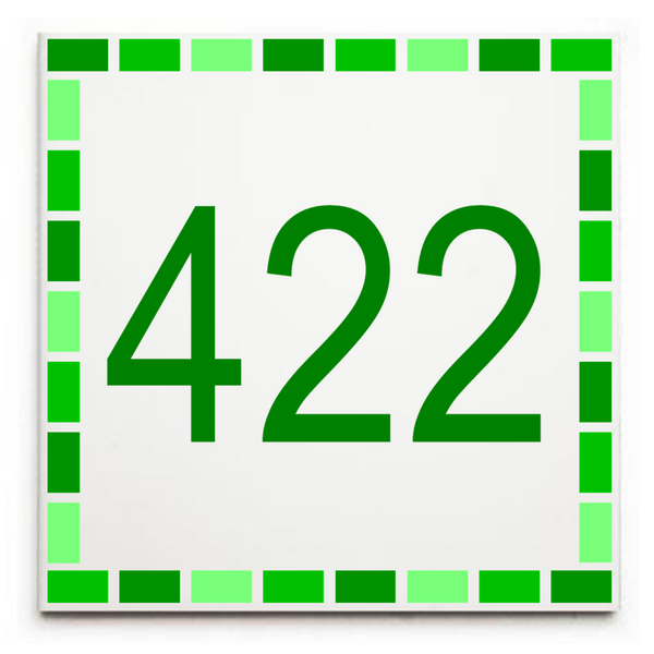 Custom House Number/Street Number Sign Plaque - Ceramic Tile Print: Dash Border
