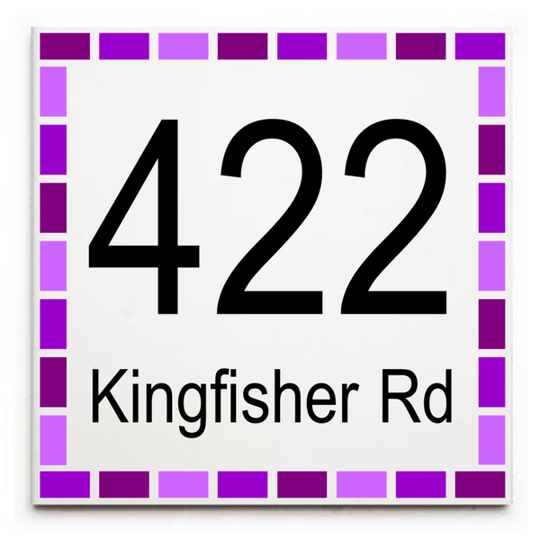 Custom House Address/Street Address Sign Plaque - Ceramic Tile Print: Dash Border