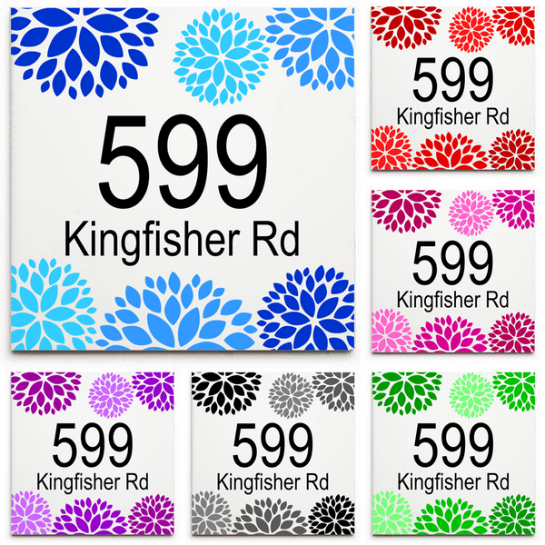 Custom House Number & Street Name Sign/Plaque - Ceramic Tile Print: Floral