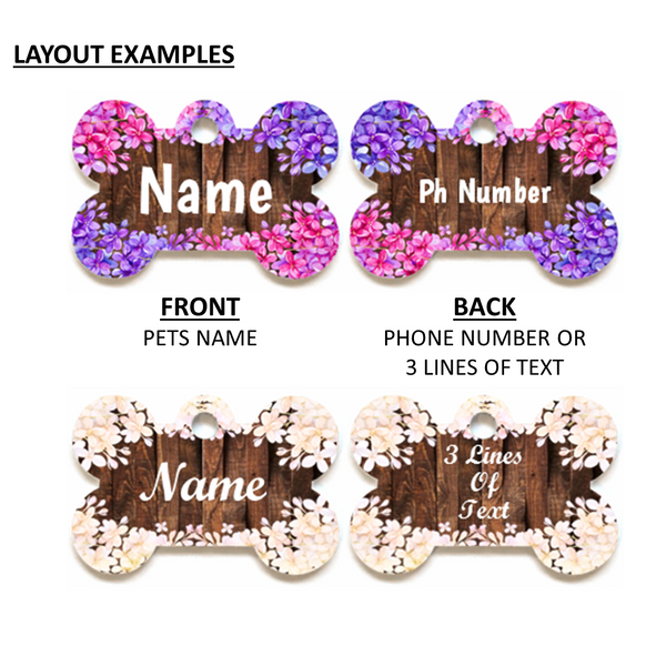 Personalised Pet ID Tag - Bone Shape - Lilacs & Wood - Dog Name Tag