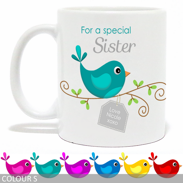 Personalised 'For a Special Sister/Friend/Nanna/Mum' Mug - Bird