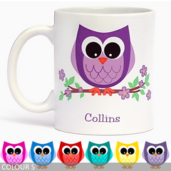 Personalised Owl on a Branch Coffee Mug