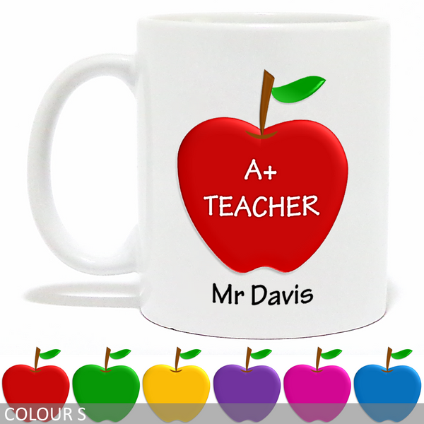 Personalised 'A+ Teacher' Mug - Apple